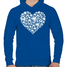 PRINTFASHION Otthon - Férfi kapucnis pulóver - Királykék