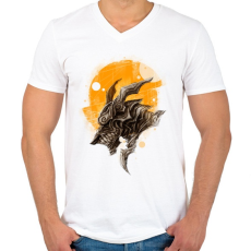 PRINTFASHION Páncélos sárkány - Férfi V-nyakú póló - Fehér