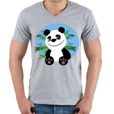 PRINTFASHION panda - Férfi V-nyakú póló - Sport szürke