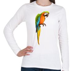 PRINTFASHION Papagáj - Női hosszú ujjú póló - Fehér