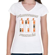 PRINTFASHION parhuzamos-parkolas-2-brown-orange - Női V-nyakú póló - Fehér