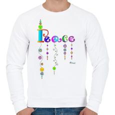 PRINTFASHION Peace - Férfi pulóver - Fehér