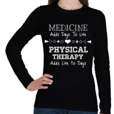 PRINTFASHION PHYSICAL THERAPY - Női hosszú ujjú póló - Fekete