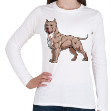 PRINTFASHION Pitbull kutya - Női hosszú ujjú póló - Fehér