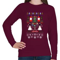 PRINTFASHION Pixel Karácsony - Női pulóver - Bordó