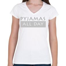 PRINTFASHION Pizsi egész nap! - Női V-nyakú póló - Fehér