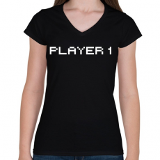PRINTFASHION PLAYER 1 - Női V-nyakú póló - Fekete