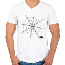 PRINTFASHION Pókháló - Férfi V-nyakú póló - Fehér