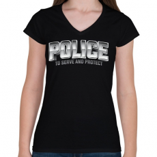 PRINTFASHION Police felirat - Női V-nyakú póló - Fekete