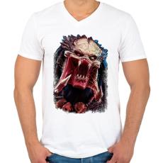 PRINTFASHION Predator - Férfi V-nyakú póló - Fehér