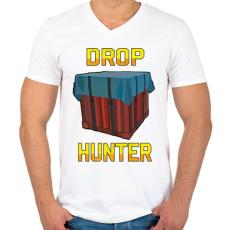 PRINTFASHION PUBG - Drop Hunter - Férfi V-nyakú póló - Fehér
