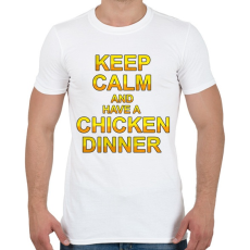 PRINTFASHION PUBG - Keep Calm and have a Chicken Dinner - Férfi póló - Fehér
