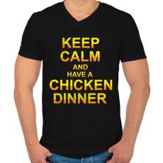 PRINTFASHION PUBG - Keep Calm and have a Chicken Dinner - Férfi V-nyakú póló - Fekete