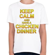 PRINTFASHION PUBG - Keep Calm and have a Chicken Dinner - Gyerek póló - Fehér
