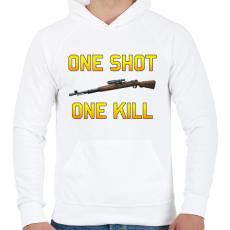 PRINTFASHION PUBG - One Shot, One Kill - Férfi kapucnis pulóver - Fehér