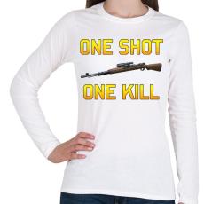 PRINTFASHION PUBG - One Shot, One Kill - Női hosszú ujjú póló - Fehér