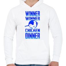 PRINTFASHION PUBG - WINNER (Kék) - Férfi kapucnis pulóver - Fehér