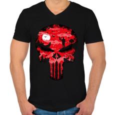 PRINTFASHION Punisher - Férfi V-nyakú póló - Fekete
