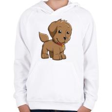 PRINTFASHION Puppy - Gyerek kapucnis pulóver - Fehér