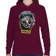 PRINTFASHION Rap medve - Női kapucnis pulóver - Bordó