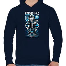 PRINTFASHION Rappin - Férfi kapucnis pulóver - Sötétkék