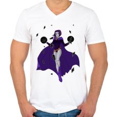 PRINTFASHION Raven - Tenn Titan - Férfi V-nyakú póló - Fehér