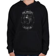 PRINTFASHION Real Gangster's Don't Die - Gyerek kapucnis pulóver - Fekete