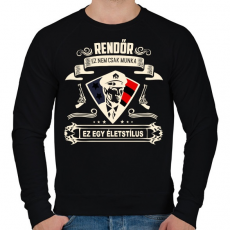 PRINTFASHION Rendőr Életstílus - Férfi pulóver - Fekete