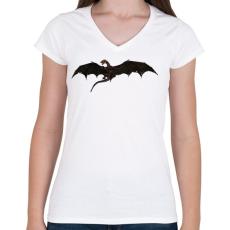 PRINTFASHION Repülő Sárkány - Női V-nyakú póló - Fehér