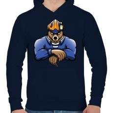 PRINTFASHION Rescue Bear - Férfi kapucnis pulóver - Sötétkék