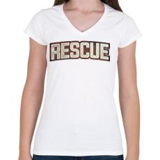 PRINTFASHION Rescue - Női V-nyakú póló - Fehér