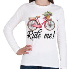 PRINTFASHION Ride me! - Női hosszú ujjú póló - Fehér