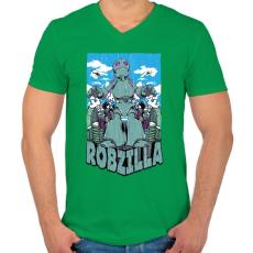 PRINTFASHION Robzilla - Férfi V-nyakú póló - Zöld