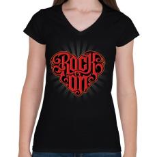PRINTFASHION Rock on - Női V-nyakú póló - Fekete
