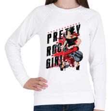 PRINTFASHION Rocker lány  - Női pulóver - Fehér