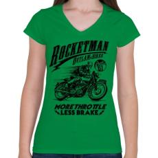 PRINTFASHION Rocketman - Női V-nyakú póló - Zöld