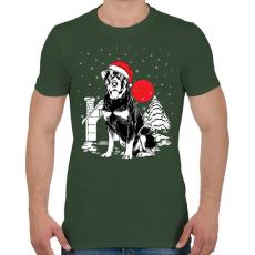 PRINTFASHION Rottweiler Karácsony - Férfi póló - Katonazöld