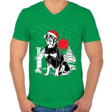 PRINTFASHION Rottweiler Karácsony - Férfi V-nyakú póló - Zöld