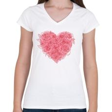 PRINTFASHION Rózsa szív - Női V-nyakú póló - Fehér