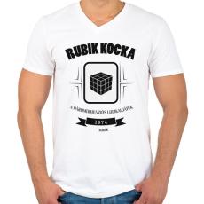 PRINTFASHION rubik-kocka-black-white - Férfi V-nyakú póló - Fehér