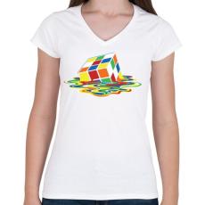 PRINTFASHION Rubik Kocka - Női V-nyakú póló - Fehér