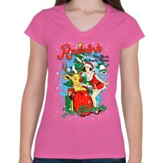 PRINTFASHION Rudolf a rosszcsont - Női V-nyakú póló - Rózsaszín