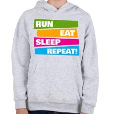 PRINTFASHION Run Eat Sleep Repeat! - Futás - Gyerek kapucnis pulóver - Sport szürke