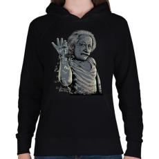 PRINTFASHION Salt Bae Einstein - Női kapucnis pulóver - Fekete