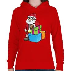PRINTFASHION Santa - Női kapucnis pulóver - Piros