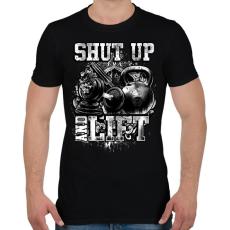 PRINTFASHION Shut up and lift - Férfi póló - Fekete