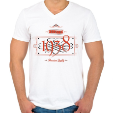 PRINTFASHION since-1938-red-black - Férfi V-nyakú póló - Fehér