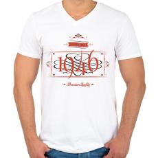 PRINTFASHION since-1946-red-black - Férfi V-nyakú póló - Fehér