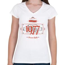 PRINTFASHION since-1977-red-black - Női V-nyakú póló - Fehér