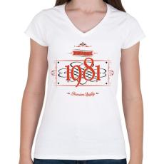 PRINTFASHION since-1981-red-black - Női V-nyakú póló - Fehér
